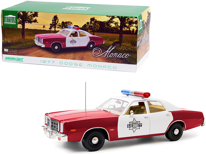 1977 Dodge Monaco Finchburg County Sheriff Burgundy White 1/18 Diecast Model Car Greenlight 19097
