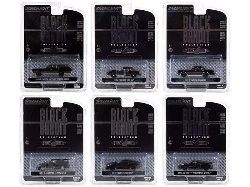 Black Bandit 6 piece Set Series 24 1/64 Diecast Model Cars Greenlight 28050