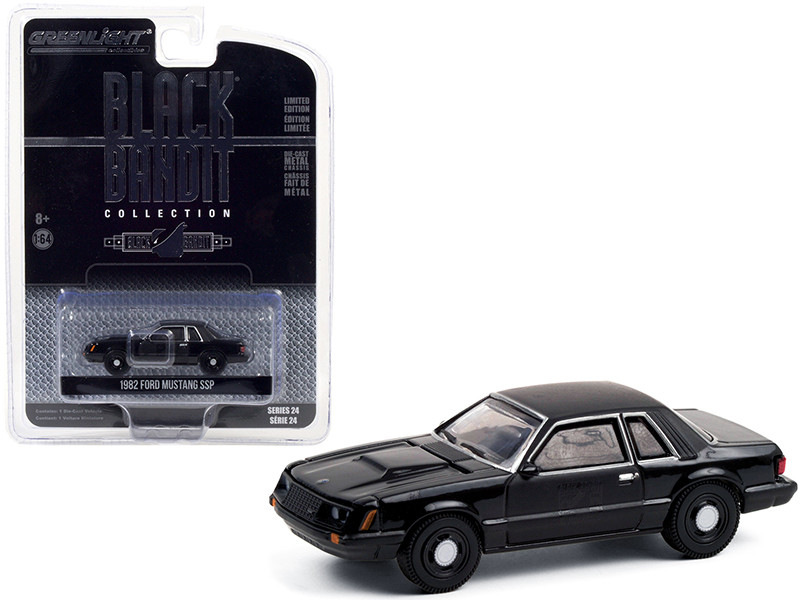 1982 Ford Mustang SSP Black Bandit Police Black Bandit Series 24 1/64 Diecast Model Car Greenlight 28050 B