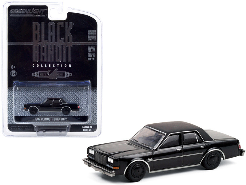 1987 Plymouth Gran Fury Black Bandit Series 24 1/64 Diecast Model Car Greenlight 28050 C