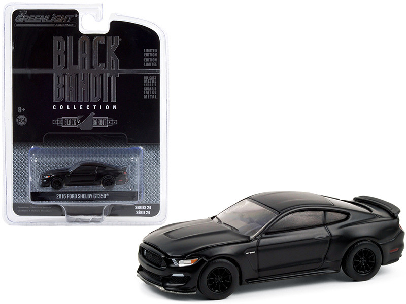 2016 Ford Mustang Shelby GT350 Black Bandit Series 24 1/64 Diecast Model Car Greenlight 28050 E