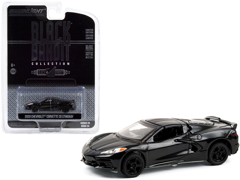 2020 Chevrolet Corvette C8 Stingray Black Bandit Series 24 1/64 Diecast Model Car Greenlight 28050 F