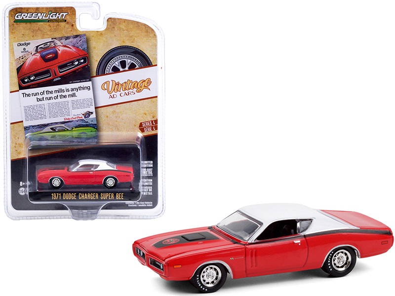 1971 Dodge Charger Super Bee Red Black Stripes White Top The Run Of The Mills Is Anything But Run Of The Mill Vintage Ad Cars Series 4 1/64 Diecast Model Car Greenlight 39060 A