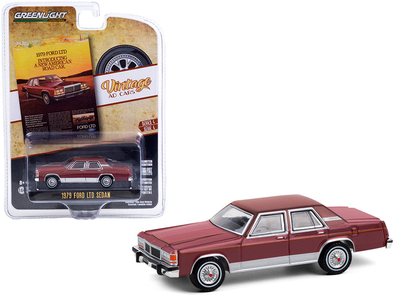 1979 Ford LTD Sedan Burgundy Introducing A New American Road Car Vintage Ad Cars Series 4 1/64 Diecast Model Car Greenlight 39060 C