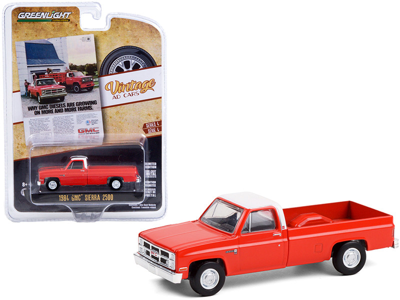 1984 GMC Sierra 2500 Pickup Truck Orange White Top Why GMC Diesels Are Growing On More And More Farms Vintage Ad Cars Series 4 1/64 Diecast Model Car Greenlight 39060 F