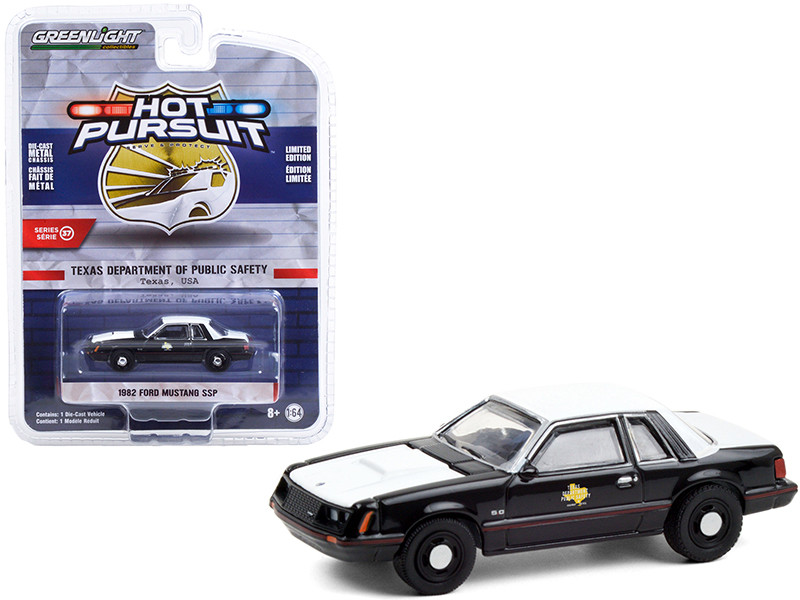 1982 Ford Mustang SSP Black White Texas Department of Public Safety Hot Pursuit Series 37 1/64 Diecast Model Car Greenlight 42950 A
