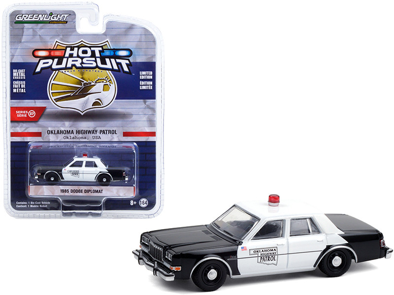 1985 Dodge Diplomat Black White Oklahoma Highway Patrol Hot Pursuit Series 37 1/64 Diecast Model Car Greenlight 42950 C