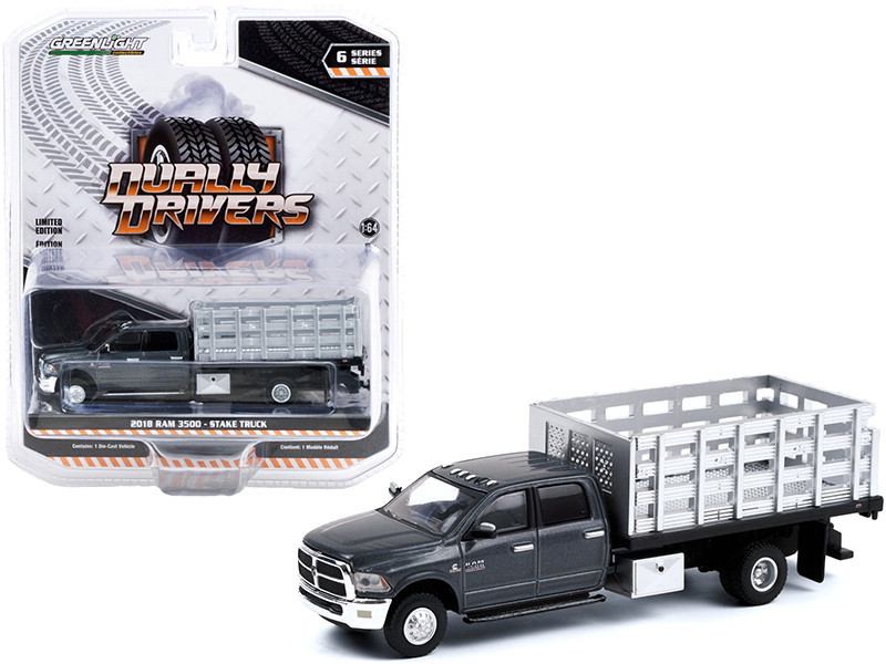 2018 Ram 3500 Dually Stake Truck Granite Crystal Gray Metallic Clearcoat Dually Drivers Series 6 1/64 Diecast Model Car Greenlight 46060 E