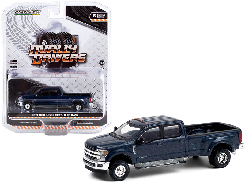 2019 Ford F-350 Lariat Dually Pickup Truck Blue Jeans Metallic Dually Drivers Series 6 1/64 Diecast Model Car Greenlight 46060 F