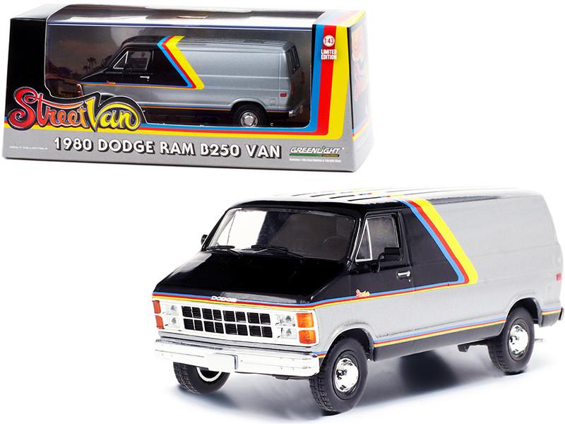 1980 Dodge Ram B250 Van Silver Black Street Van 1/43 Diecast Model Greenlight 86600