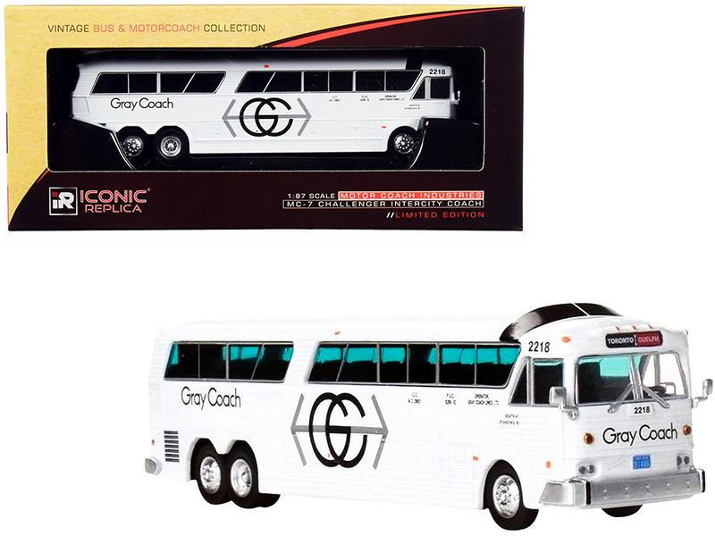 MCI MC-7 Challenger Intercity Coach Bus White Gray Coach Toronto Guelph Canada Vintage Bus & Motorcoach Collection 1/87 HO Diecast Model Iconic Replicas 87-0270