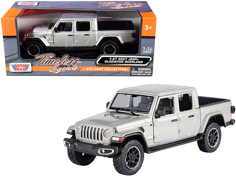 2021 Jeep Gladiator Overland Closed Top Pickup Truck Silver Metallic 1/24 1/27 Diecast Model Car Motormax 79365
