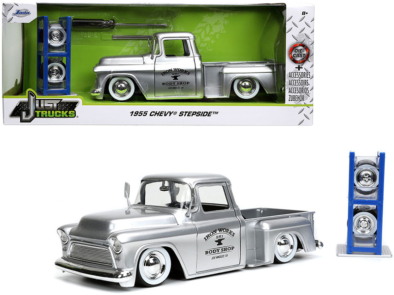 1955 Chevrolet Stepside Pickup Truck Iron Works Body Shop Silver Extra Wheels Just Trucks Series 1/24 Diecast Model Car Jada 32312