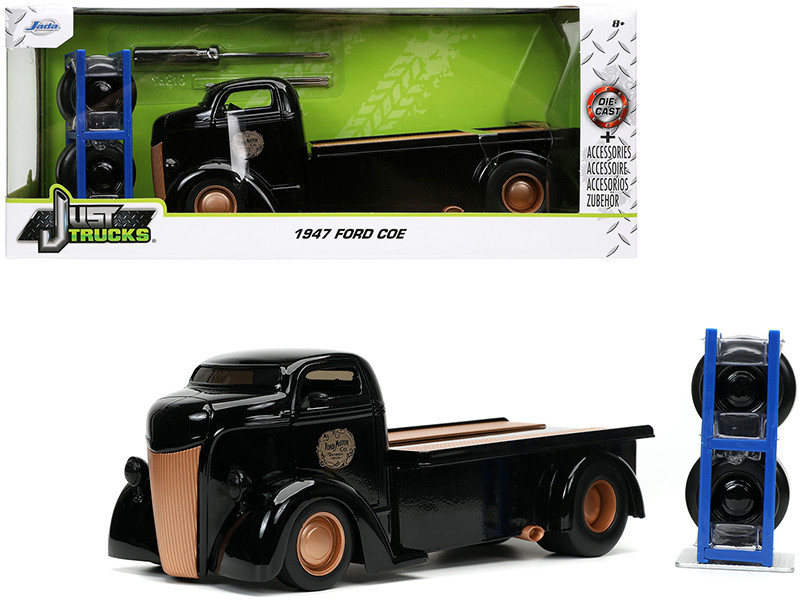 1947 Ford COE Flatbed Tow Truck Ford Motor Co Black Extra Wheels Just Trucks Series 1/24 Diecast Model Car Jada 32314