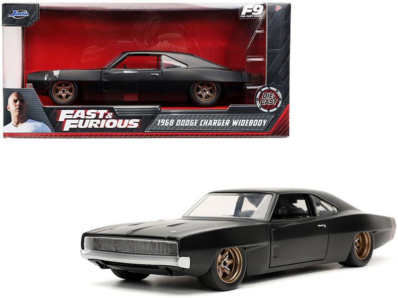Dom's 1968 Dodge Charger Widebody Matt Black Fast & Furious 9 F9 2021 Movie 1/24 Diecast Model Car Jada 32614