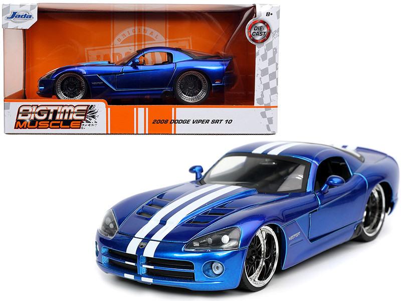 2008 Dodge Viper SRT 10 Candy Blue White Stripes Bigtime Muscle Series 1/24 Diecast Model Car Jada 32726