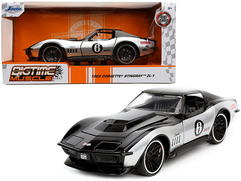1969 Chevrolet Corvette Stingray ZL-1 #6 Black Silver Bigtime Muscle Series 1/24 Diecast Model Car Jada 32775
