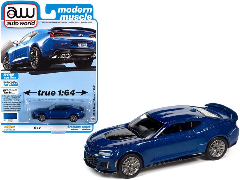 2018 Chevrolet Camaro ZL1 Hyper Blue Metallic Modern Muscle Limited Edition 13000 pieces Worldwide 1/64 Diecast Model Car Autoworld 64302 AWSP059 A