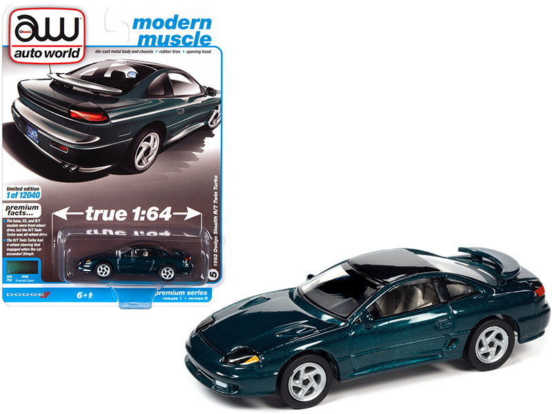 1992 Dodge Stealth R/T Twin Turbo Emerald Green Metallic Black Top Modern Muscle Limited Edition 12040 pieces Worldwide 1/64 Diecast Model Car Autoworld 64302 AWSP063 B