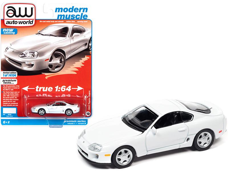 1993 Toyota Supra Super White Modern Muscle Limited Edition 14104 pieces Worldwide 1/64 Diecast Model Car Autoworld 64302 AWSP064 B