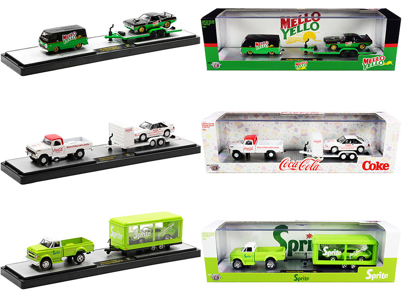 Auto Haulers Coca-Cola Set of 3 pieces Release 8 Limited Edition 6400 pieces Worldwide 1/64 Diecast Models M2 Machines 56000-TW08