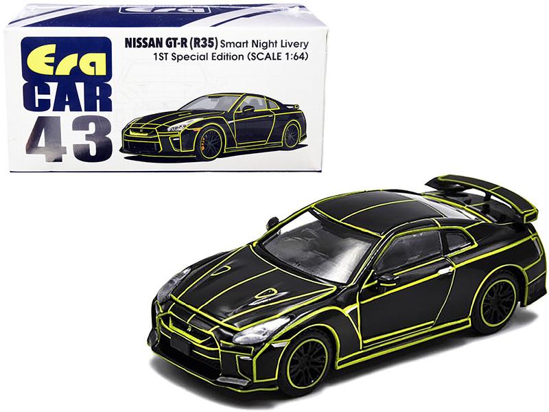 Nissan GT-R R35 RHD Right Hand Drive Smart Night Livery Black Yellow Stripes 1st Special Edition 1/64 Diecast Model Car Era Car NS20GTRRF43