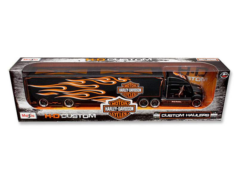 Harley Davidson Custom Hauler Trailer Black 1/64 Diecast Model Maisto 11516