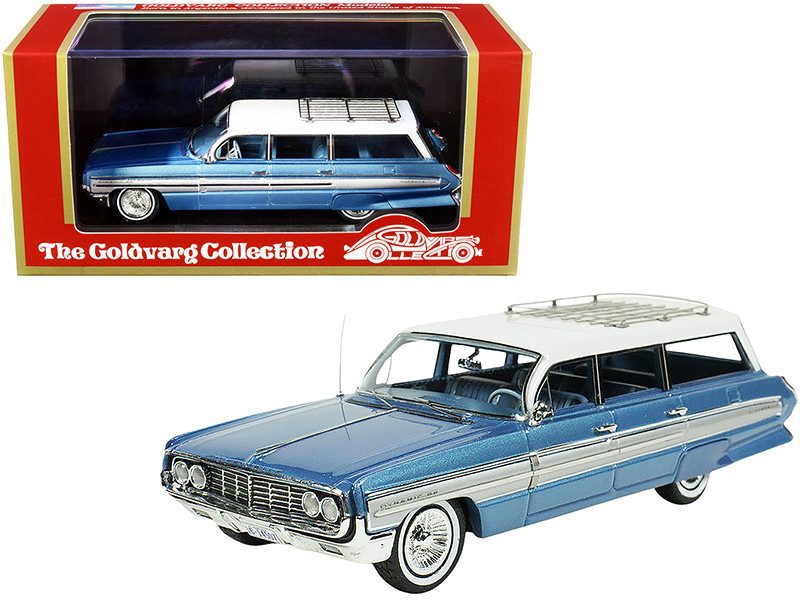 1962 Oldsmobile Dynamic Fiesta Wagon Roof Rack Wedgewood Blue Metallic White Top Limited Edition 250 pieces Worldwide 1/43 Model Car Goldvarg Collection GC-038 A