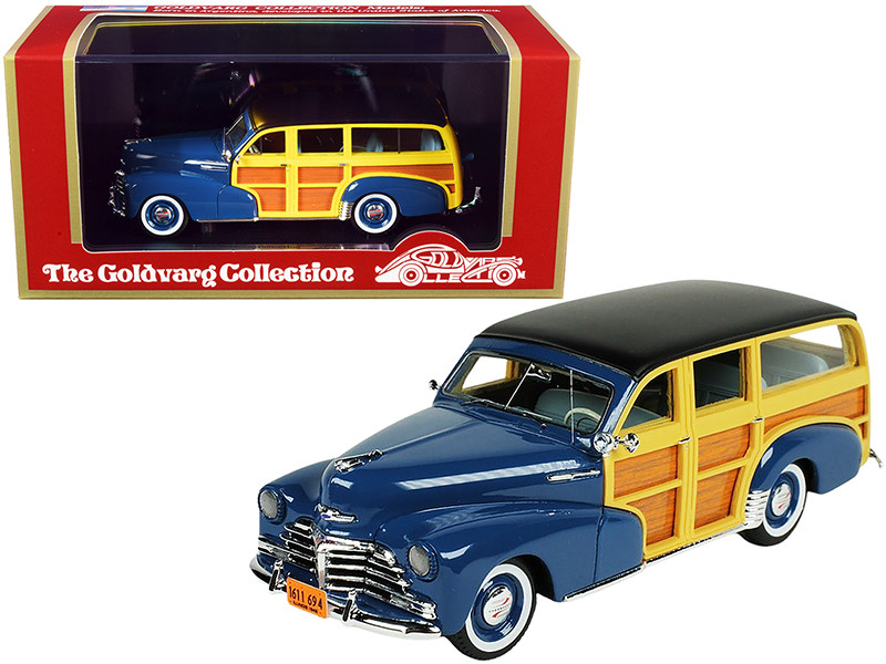 1948 Chevrolet Fleetmaster Woodie Station Wagon Como Blue Black Top Limited Edition 240 pieces Worldwide 1/43 Model Car Goldvarg Collection GC-045 A