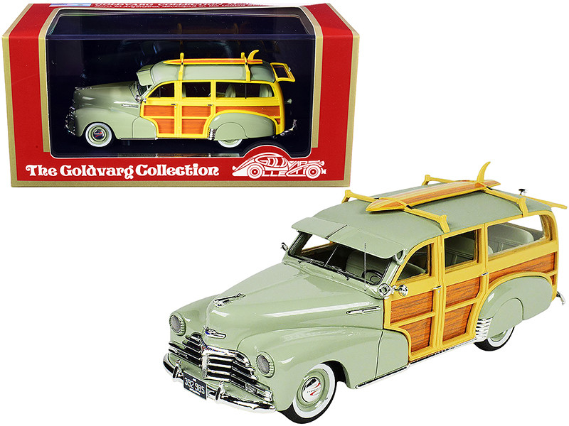 1948 Chevrolet Fleetmaster Woodie Station Wagon Surfboard Satin Green Limited Edition 325 pieces Worldwide 1/43 Model Car Goldvarg Collection GC-045 B