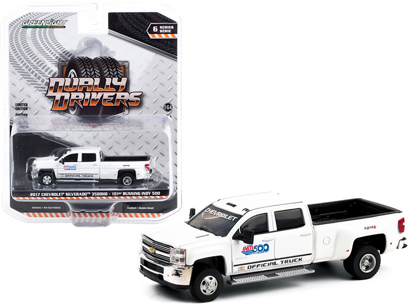 2017 Chevrolet Silverado 3500HD Dually Pickup Truck White 101st Running Indy 500 Presented PennGrade Motor Oil Official Truck Dually Drivers Series 6 1/64 Diecast Model Car Greenlight 46060 A