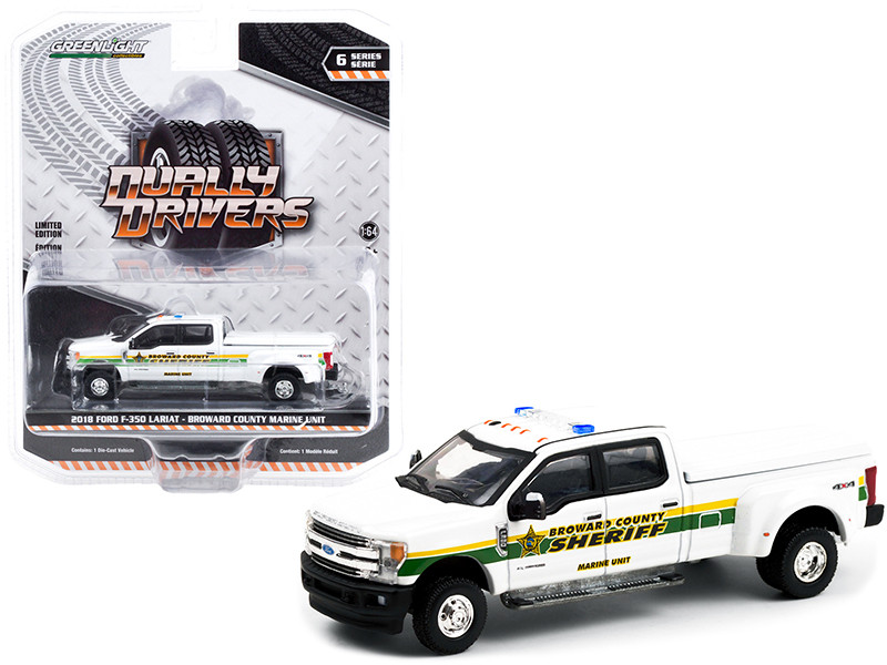 2018 Ford F-350 Lariat Dually Pickup Truck Bed Cover White Marine Unit Broward County Sheriff Florida Dually Drivers Series 6 1/64 Diecast Model Car Greenlight 46060 C