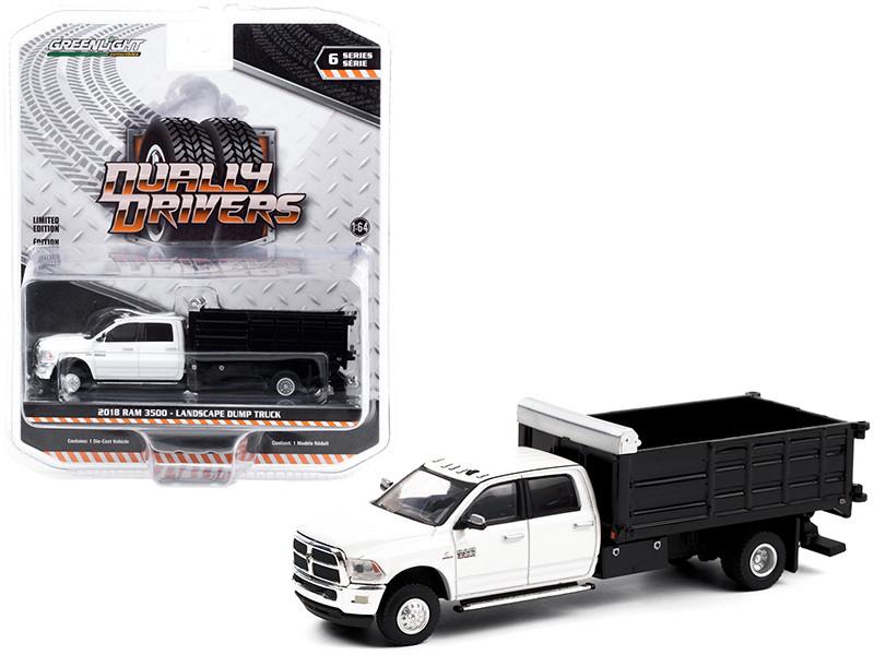 2018 Ram 3500 Dually Landscaper Dump Truck Bright White Black Dually Drivers Series 6 1/64 Diecast Model Car Greenlight 46060 D