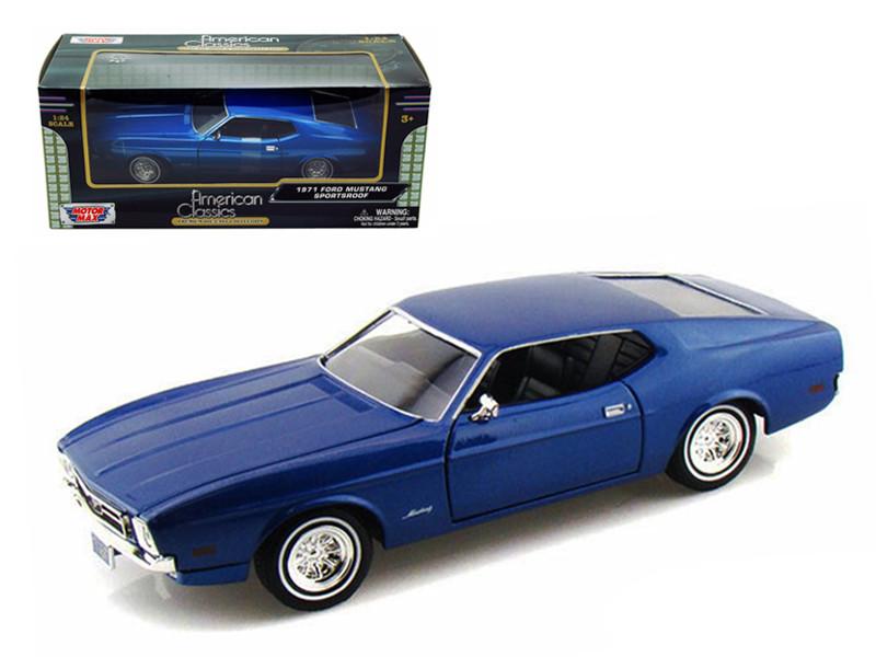 1971 Ford Mustang Sportsroof Blue 1/24 Diecast Model Car Motormax 73327