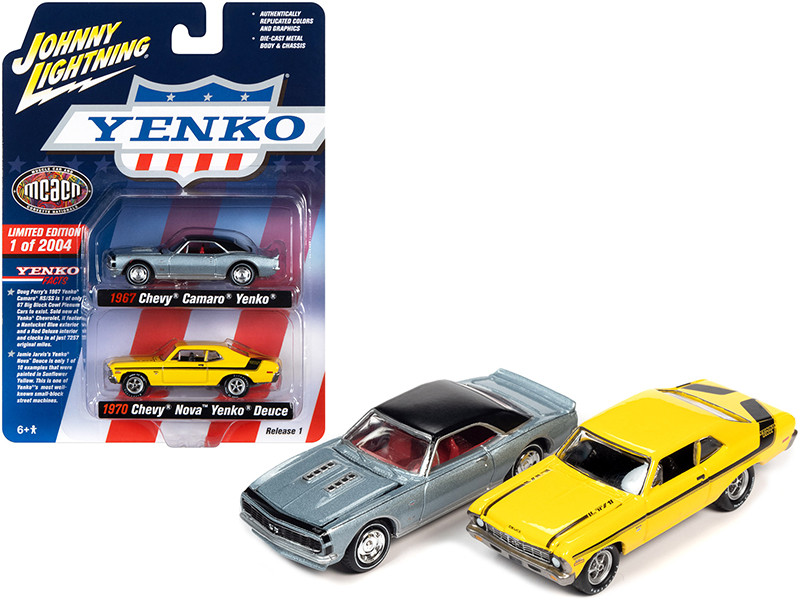 1967 Chevrolet Camaro Yenko Blue Metallic Black Top 1970 Chevrolet Nova Yenko Deuce Yellow MCACN Muscle Car & Corvette Nationals Set of 2 Cars Limited Edition 2004 pieces Worldwide 1/64 Diecast Model Cars Johnny Lightning JLPK012 JLSP129