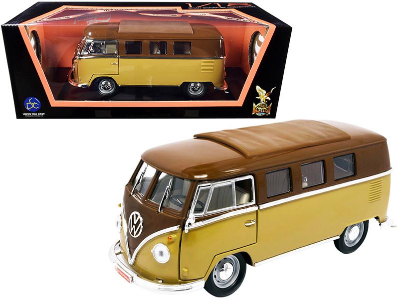 1962 Volkswagen Microbus Dark Brown Light Brown 1/18 Diecast Model Road Signature 92328