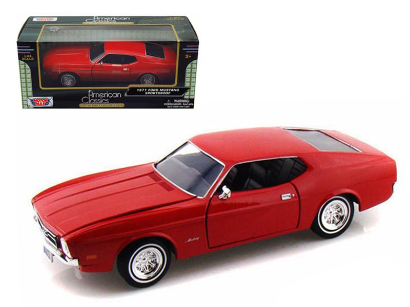 1971 Ford Mustang Sportsroof Red 1/24 Diecast Model Car Motormax 73327