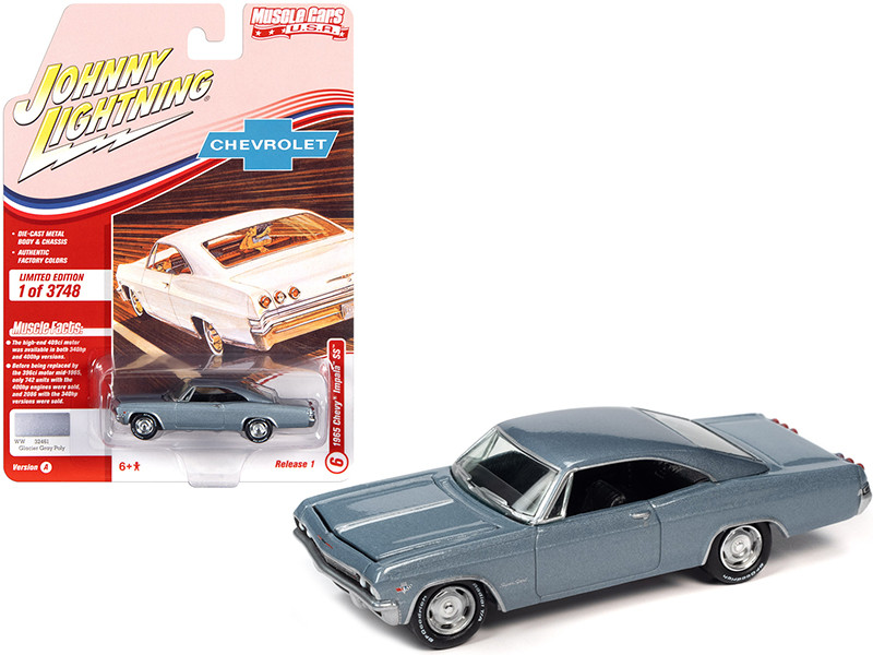 1965 Chevrolet Impala SS Glacier Gray Metallic Limited Edition 3748 pieces Worldwide 1/64 Diecast Model Car Johnny Lightning JLMC025 JLSP140 A