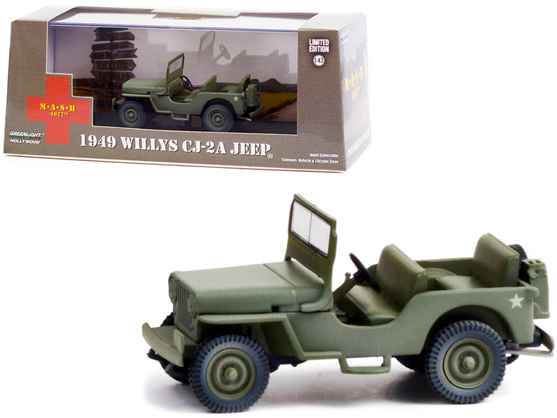 1949 Willys CJ-2A Jeep Army Green MASH 1972 1983 TV Series 1/43 Diecast Model Car Greenlight 86592