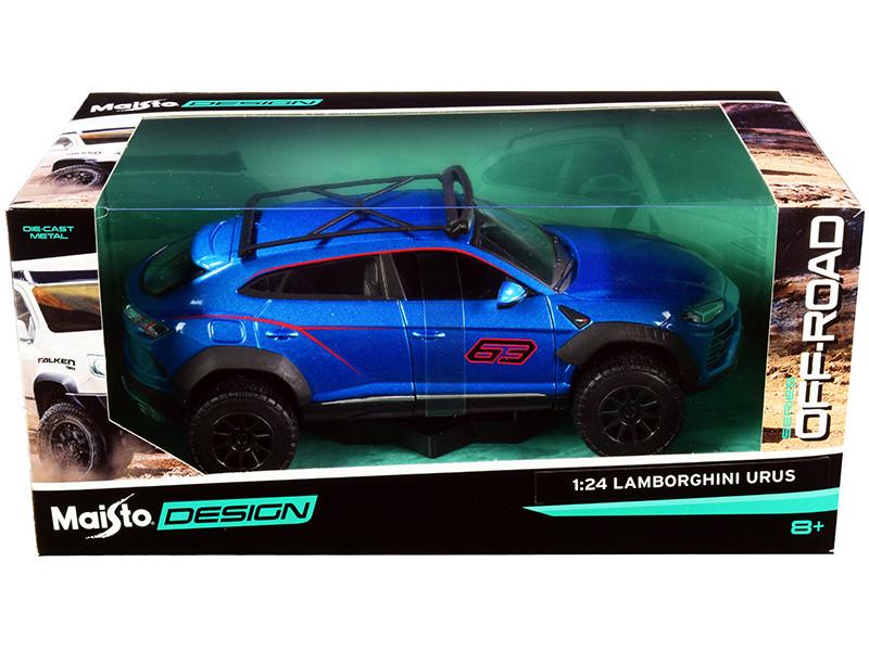 Lamborghini Urus #63 Roof Rack Blue Metallic Off-Road Series 1/24 Diecast Model Car Maisto 32533
