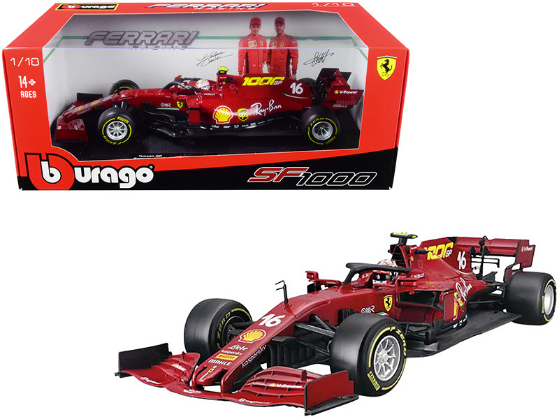 Ferrari SF1000 #16 Charles Leclerc Tuscan GP Formula One F1 2020 Ferrari's 1000th Race 1/18 Diecast Model Car Bburago 16808