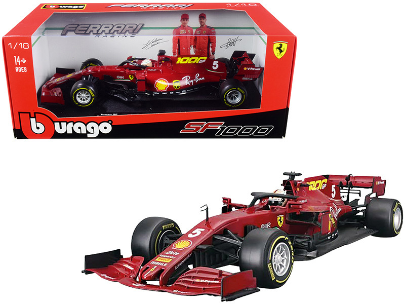 Ferrari SF1000 #5 Sebastian Vettel Tuscan GP Formula One F1 2020 Ferrari's 1000th Race 1/18 Diecast Model Car Bburago 16808