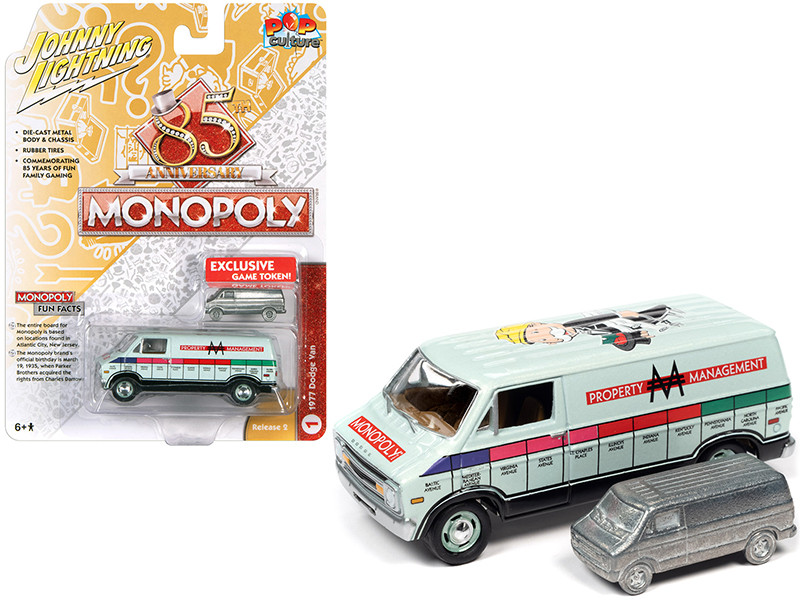 1977 Dodge Van Lime Green Metallic Property Management Game Token Monopoly 85th Anniversary Pop Culture Series 1/64 Diecast Model Car Johnny Lightning JLPC002 JLSP122