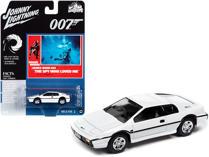 Lotus Esprit S1 White James Bond 007 The Spy Who Loved Me 1977 Movie Pop Culture Series 1/64 Diecast Model Car Johnny Lightning JLPC002 JLSP127