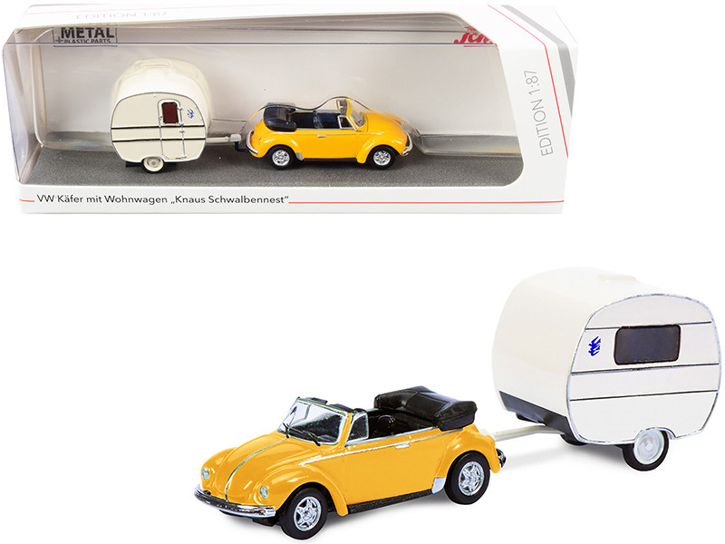 Volkswagen Kafer Convertible Yellow Knaus Schwalbennest Travel Trailer Cream 1/87 HO Diecast Model Car Schuco 452651300