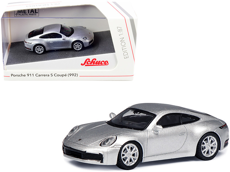 Porsche 911 992 Carrera S Coupe Silver 1/87 HO Diecast Model Car Schuco 452653600