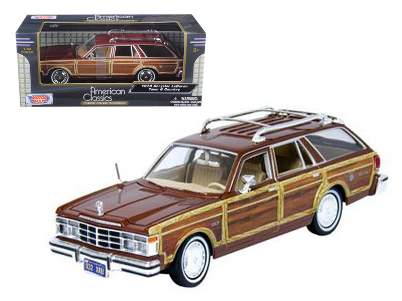 1979 Chrysler Lebaron Town and Country Burgundy 1/24 Diecast Model Car Motormax 73331