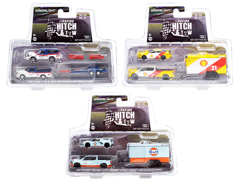 Racing Hitch & Tow Set of 3 pieces Series 3 1/64 Diecast Model Cars Greenlight 31110 A B C