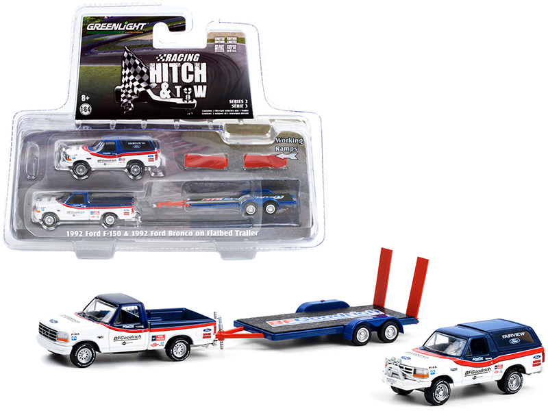 1992 Ford F-150 Pickup Truck 1992 Ford Bronco Flatbed Car Trailer White Blue Red Stripes BFGoodrich Racing Hitch & Tow Series 3 1/64 Diecast Model Cars Greenlight 31110 A