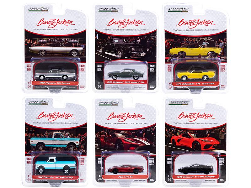 Barrett Jackson Scottsdale Edition Set of 6 Cars Series 6 1/64 Diecast Model Cars Greenlight 37220